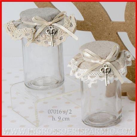 Ingrosso e Risparmio Bocaux cylindriques, en verre, avec bouchon en liège recouvert de tissu de deux couleurs assorties, maintenu par un ruban en satin, décoré avec une clé en métal - Bonbonnière de naissance, de baptême, de communion, de mariage, d'anniversaire
