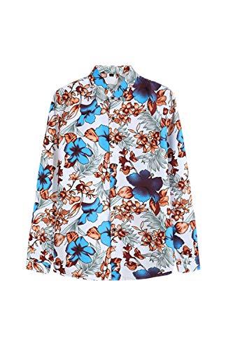 Yacun gli uomini sono camicie hawaiane floreale manica lunga al massimo pulsante casuale blu xxl
