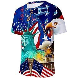 Homme Tee Shirt, USA Drapeau AméRicain Imprimé Sports Chemises Pure Grande Taille Tops Blouse