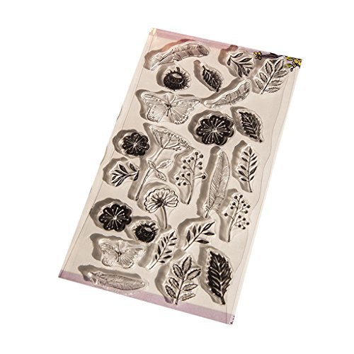 Manyo 1 Stück DIY transparent klar Silikon Stempel Vorlage, Pflanzen und Schmetterlinge Form, tolles Geschenk für Kinder und DIY-Liebhaber. (02)