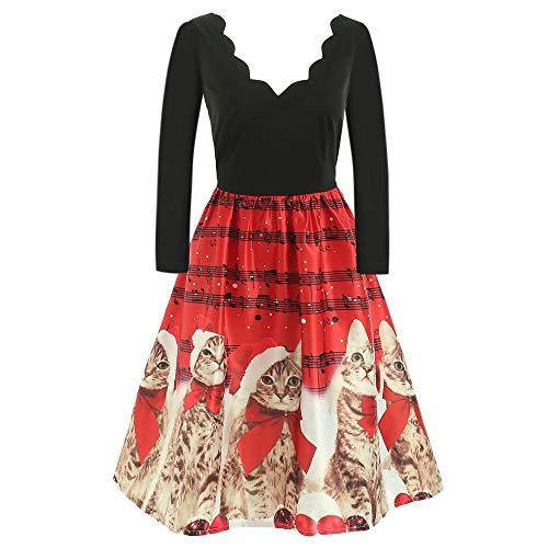 OverDose Damen Frohe Weihnachten Stil Frauen Vintage Print Langarm Weihnachten Abend Party Cosplay Elegante Slim Swing Kleid Geschenk