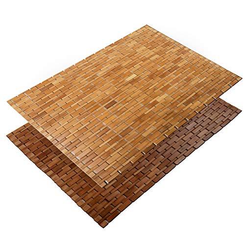 casa pura® Bambusmatte Mia | Badematte & Saunamatte aus Bambus | 60x90cm | Zwei Farben (Naturfarben) - Natur-badezimmer-teppich