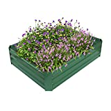 Cama elevada de metal para jardín, maceta con recubrimiento en polvo para cultivos de flores vegetales, antioxidante, sin grietas, sin deterioro, 47.2 '' L x 35.4 '' W x 11.8 '' H