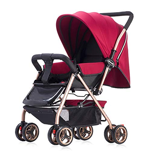 Yhz@ Cochecito de bebé Ligero Portable High Landscape Puede Sentarse y acostarse Plegable Simple Handle Reversible Suspension Neonatal Buggy Baby Trolley Sillas de Paseo (Color : Red)