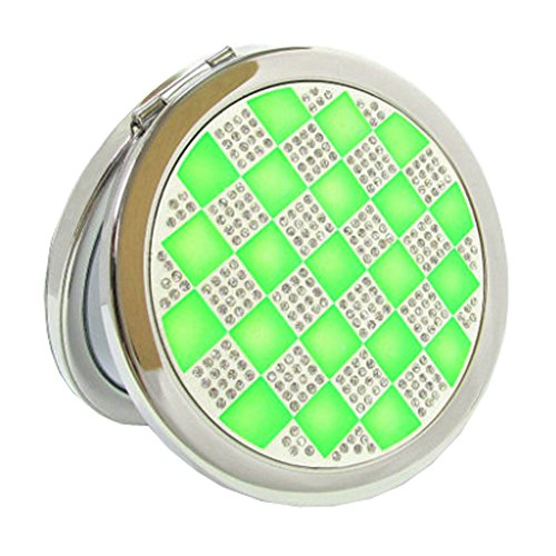Élégant simple Grille Double Cosmetic Mirror Mirror Maquillage Portable, Vert