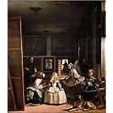 Cuadro sobre lienzo 100 x 110 cm: Las Meninas de Diego Rodriguez de Silva y Velazquez - cuadro terminado, cuadro sobre bastidor, lámina terminada sobre lienzo auténtico, impresión en lienzo
