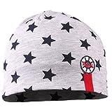 TupTam Jungen Beanie Mütze Baumwolle Sternenmuster Topfmütze, Farbe: Sterne Dunkalblau/Grau meliert, Größe: 6-12 Monate