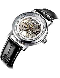 Zophor (TM) Winner Fashion Hand-Winding mecánico reloj de lujo Chic marca reloj de pulsera para hombre correa de piel transparente watchcase Back
