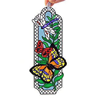 ACEVER Art Glass Tiffany Metallic Book marks with Hand Painted Butterfly
