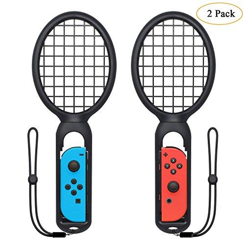Leegoal Tennisschläger für Joy Con, 2Pack Tennis Schläger mit Griff Gurte für Nintendo Schalter Controller, Zubehör für Mario Spiel Tennis Aces -