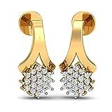 KuberBox Gleam Stud Ear 14k Yellow Gold and Diamond Stud Earrings best price on Amazon @ Rs. 16464
