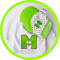 Mouthie Mitt - Manoplas para bebé premiadas en EE.UU., guantes para aliviar el dolor durante la dentición, ideal para bebés entre 3 y 12 meses. Color verde. Protegen las manos de la saliva y de los mordiscos. Incluyen cierre ajustable y seguro. Se pueden lavar.