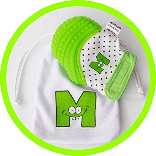 mouthie guante Mordedor para Bebés guante verde EE. UU. Ganador de Premio para bebé manoplas–relajante dolor relief- edad 3–12meses–Protege de manos de salvia y chicles seguro ajustable correa. Lavable.