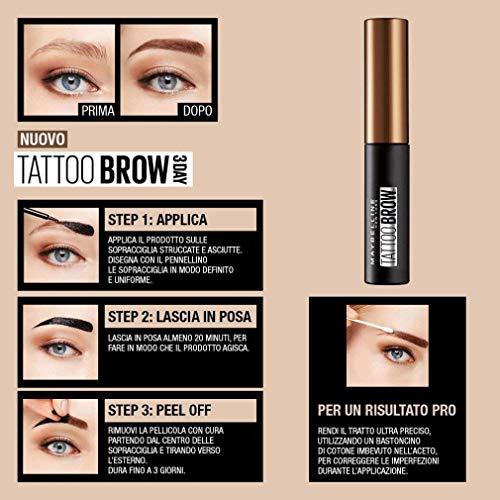 Maybelline New York Tinta per Sopracciglia Peel-off Tattoo Brow, Risultato Definito fino a 3 Giorni, 2-Medium Brown, 4.6 g