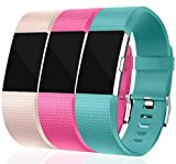 Ambcol Für Fitbit Charge 2 Armband, Charge 2 Armband Weiches Silikon Sports Ersetzerband Fitness Verstellbares Uhrenarmband für Fitbit Charge2 3 in 1-O S 5.5