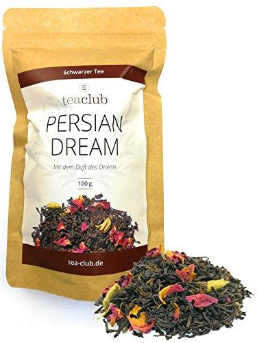 Schwarzer Tee Lose 100g, Persischer Tee Mischung mit Schwarztee Kardamom Rosenblüten Saflorblüten, Harmonisch-würziger Tee von TeaClub