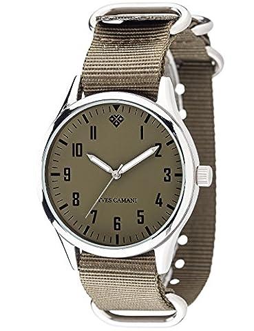 Yves Camani Unisex Unisson Quartz Watch with Green Dial Analogue Display and Multicolour Nylon Bracelet (Riserva Orologio Di Lusso)