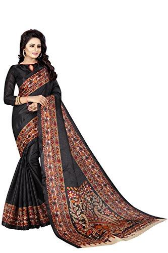 Tagline Woman's Art Khadi Silk Printed Art Bhagalpuri Silk Saree (kalamkari-3-BLACK)