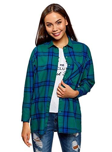 oodji Ultra Mujer Camisa Ancha a Cuadros, Verde, ES 34 / XXS