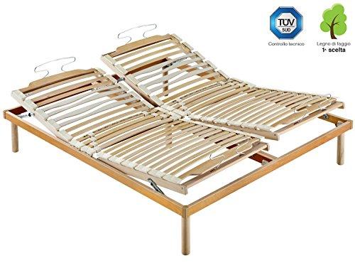 Marcapiuma - rete a doghe manuale matrimoniale 160x190 alta 35 cm modello s.a. in legno di faggio naturale resinato e multistrato + 5 piedi legno massello di faggio - ortopedica - 100% made in italy