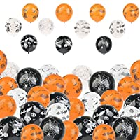 BUYGOO 100Pcs Halloween Balloons Ghost and Skull Balloon 12 Inches Latex Balloons Halloween Pumpkin Spider Web and Ghost Black Orange White Balloons for Halloween Day Party Decorations