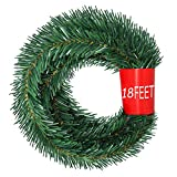 YQing 5.5 m Tannengirlande aus Kunststoff Grün Weihnachtsgirland Weihnachten Girlande, Weihnachtsdeko Türkranz Weihnachten Garland