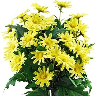 FiveSeasonStuff 2 Piezas 36cm (14.2 Inches) Artificial Amarillo Margarita Flores y Ramos, Boda, Nupcial, Fiesta, Hogar, Tienda, Decoración de la Oficina, Bricolaje Arreglo Floral Decoración