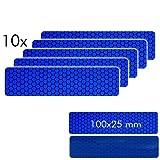 Motoking Reflektorenaufkleber, Blau, 10 Stück á 100 x 25 mm für Schutz & Sicherheit in der Dunkelheit