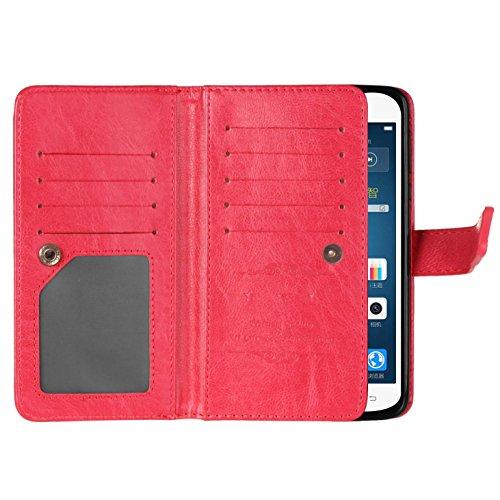 ISAKEN Custodia per Sony Xperia XA Ultra con Strap, Elegante borsa Tinta Unita Farfalla Design in Sintetica Ecopelle PU Pelle Protettiva Portafoglio Flip Case Cover con Supporto di Stand / Carte Slot  Rossa