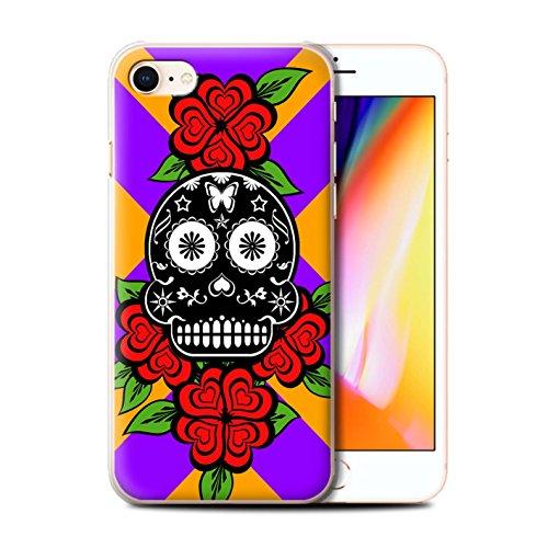 Stuff4 Hülle / Case für Apple iPhone 8 / Türkis Muster / Süßigkeiten Schädel Kollektion Schwarze/Rose