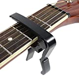 amiciKart® Quick Change Clamp Key Acoustic Classic Guitar Capo For Tone Adjusting for Electric Acoustic Guitar - Black