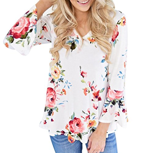 Abbigliamento Donna, ASHOP Camicia a Maniche Lunghe Camicetta della Maglietta delle Parti Superiori della Manica di Flare della Stampa Floreale Casuale di Autunno delle Donne Bianco
