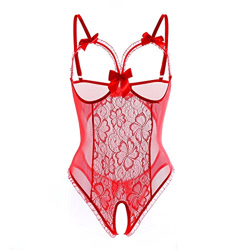 Evelure Frauen Babydoll Lingerie Open Cup Crotchless Einteiler Teddy Dessous Lace Nightie Reizwäsche (XL, Rot) (Cup Open Dessous)