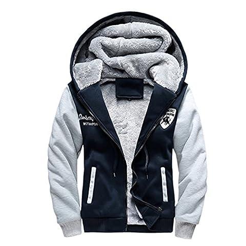 WALK-LEADER Mens Thick Fur Lined Zip Up Hooded Hoodies Sweatshirt Jacket Outwear D/B XL