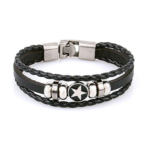 Pridot Pelle Amicizia Bracciali Accessori Nero Unisex del Braccialetto del Wristband Stella Beads Cuff Tribale Con Retro Lega Chiusura