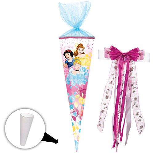 alles-meine GmbH Schultüte -  Disney Princess - Schneewittchen - Belle - Cinderella  - 85 cm - eckig - incl. große Schleife - Tüllabschluß - Zuckertüte - mit / ohne Kunststo..