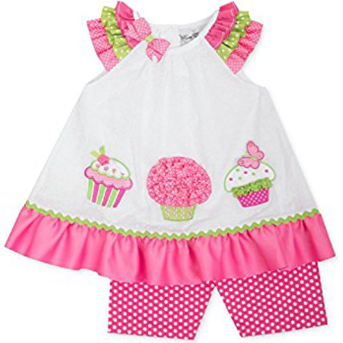 Rare Editions Baby Mädchen Tunika Kleid + Hose Weiß Rosa Cup Cake (68-74) (Editions Baby Rare Kleider)