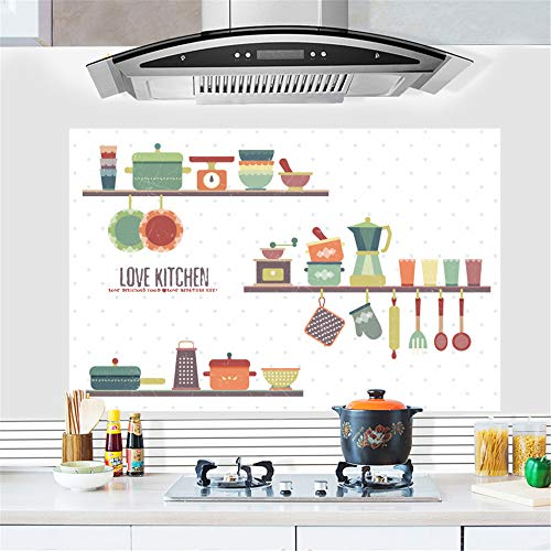 Hongrun Mode küche öl Aufkleber Aufkleber dunstabzugshaube hochtemperaturöfen Aufkleber Selbstklebende wandaufkleber Personalisierte Schrank Aufkleber 88 * 58 cm