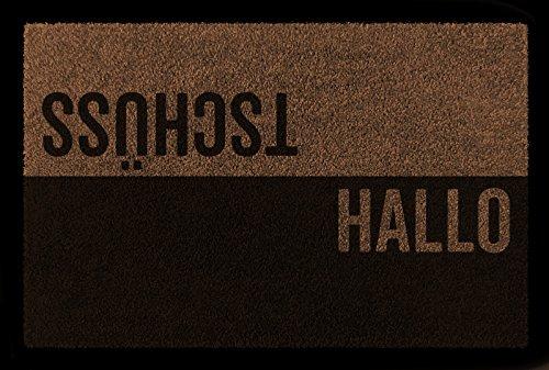 TÜRVORLEGER Fußmatte HALLO TSCHÜSS Haustür Eingang Flur 60x40 cm Viele Farben Braun
