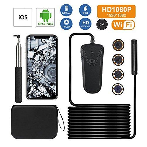 TeckEpic 5m Endoscopes Caméra d'inspection WiFi 1080P 2.0 Mégapixels Semi-rigide Résistance à l'Eau IP68 Caméra Serpent HD avec 8 LED Ajustable , pour IOS Android Système Smartphone et tablette