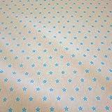 Stoff Meterware wasserdicht Sterne beige türkis Wachstuch Tischdecke abwaschbar