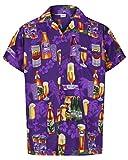 Redstar Fancy Dress - Camisa Hawaiana de Manga Corta - para Hombre - Cerveza y Playa - Todas Las Tallas - Morado - L