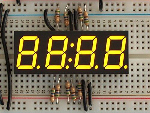 Yellow 7-segment clock display - 0.56 digit