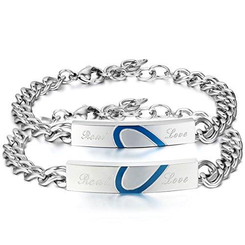 Oidea bracciale braccialetto per coppia lovers braccialetto in acciaio inox