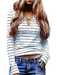 Coversolate Mujer Raya Blusa Manga larga Camiseta Casual Tops