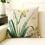 PLL Gelbe Orchidee Muster Retro Kissen Baumwolle Leinen Wohnzimmer Sofa Kissen Kissen Büro Auto Rückenlehne