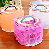 #9: Jannat 3-Tray 18 Grids Transparent Plastic Organizer Storage Box/Basket/Container with Collapsible and Removable Dividers
