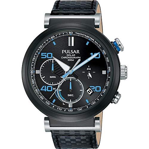 Pulsar Homme 43.5mm Bracelet Cuir Noir Quartz : Solaire Montre PZ5067X1