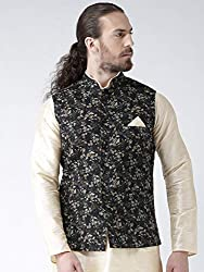 Deyann Black Linen Nehru Jacket, Modi Jacket for Men Party Wear