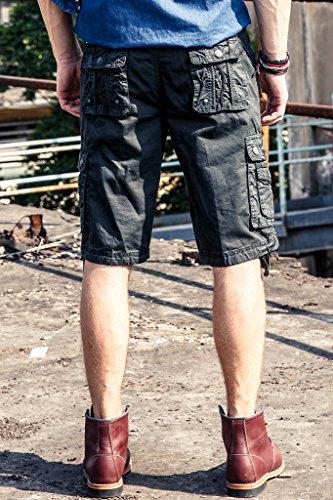 Herren Cargo Shorts Casual Kurze Hose Tunnelzug 100% Baumwolle mit Multi-Taschen Holzkohle